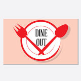 Dine out restaurant logo. A clean and trendy combination of crockery items -Dining out vector graphic Stock Images