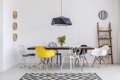 Dine with style in this designer dining room Stock Photo