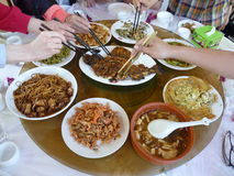 Dine together. Family dine together in a porterhouse of Beijing Stock Photography