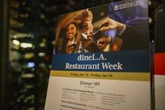 Dineer L A Menu van een restaurant stock afbeeldingen