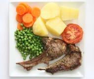 Diner 1 van lamskoteletten Stock Foto's