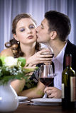 Diner. A couple at the diner, man proposing marriage Stock Image