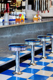 Diner. Retro '50s diner in chrome and blue royalty free stock image