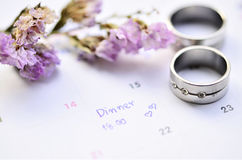 Diner appointment and ring Stock Images
