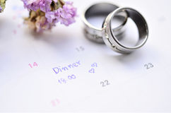 Diner appointment and ring. Memo diner appointment on calendar Royalty Free Stock Photos