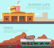Diner and burger cafe. Vector illustration of diner and burger cafe Royalty Free Stock Photography