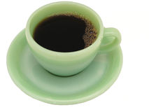 Diner Coffee. Coffee served in vintage Fire King Green Glass restaurant ware cup and saucer Royalty Free Stock Photos