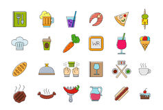 Diner colorful  icons set. Set of 24 Diner colorful  icons Royalty Free Stock Photos