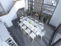 Diner contemporain avec la tendance blanche de meubles Images libres de droits