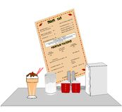 Diner counter in restaurant. Old diner counter with accessories and milkshake with straws Royalty Free Stock Photos