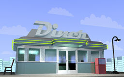 Diner. 3D illustration of a retro diner with a city scape behind Royalty Free Stock Photography