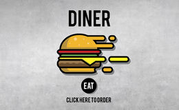 Diner Eating Restaurant Cafe Concept Royalty Free Stock Photography