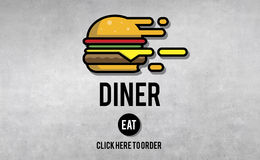 Diner Eating Restaurant Cafe Concept Stock Photo