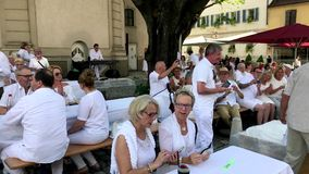 Diner en Blanc, the white dinner stock video