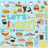 Diner Food Doodles Vector Illustration Set