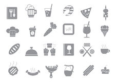 Diner gray vector icons set. Set of 24 Diner gray vector icons Royalty Free Stock Image