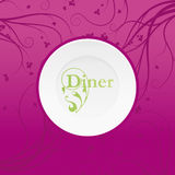 Diner inventation. Dinner inventation, plate with text Royalty Free Stock Photo