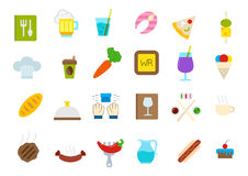 Diner isolated vector icons set. Set of 24 Diner isolated vector icons Royalty Free Stock Image