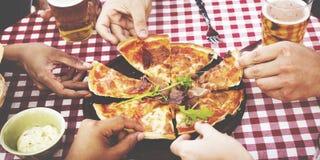 Diner le concept potable d'amitié de mode de vie de brunch de dîner Image libre de droits