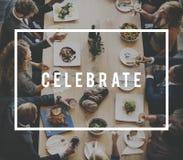 Diner le repas Team Anniversary Concept de déjeuner d'affaires photos stock
