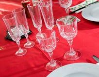 diner lijst kaviaar en tafelkleed met pannekoeken Stock Afbeelding