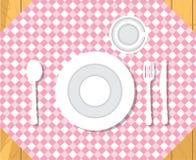 diner lijst kaviaar en tafelkleed met pannekoeken Het formele Plaatsen van het Diner Geïsoleerde vlakke stijlvector Stock Foto
