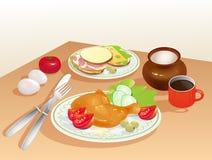 Diner met gebraden kip. Stock Foto's