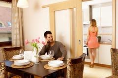 Diner met vrienden Royalty-vrije Stock Foto's