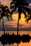 Diner On The Beach At Sunset Stock Photography