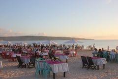 Diner op het strand in Jimbaran Stock Fotografie