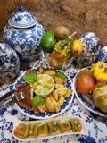 Diner, potatoskip, salade royalty-vrije stock foto