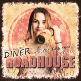 Diner Roadhouse retro tin sign. Vintage pink metal sign of a pop art poster girl offering peppercorns with old-fashion service and  a smile. Diner Roadhouse Royalty Free Stock Image