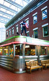 Diner. Rochester, New York, USA. October 24, 2015. Captain American stands on the roof of the fifties style diner inside the Strong National Museum of Play royalty free stock image