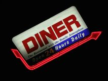 Diner Sign. Neon sign for family diner Royalty Free Stock Photography