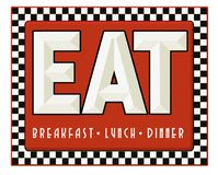 Diner Sign Retro Eat Breakfast Lunch Dinner Royalty Free Stock Photo