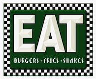 Diner Sign Retro Eat Burgers Fries Shakes. Vintage Retro Diner Sign Eat breakfast lunch dinner with green background and checkerboard border vector illustration
