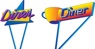 Diner Signs. A pair of retro looking diner signs in 1950s style Royalty Free Stock Images