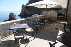 Diner sur la mer dans Dubrovnik Croatie Photographie stock