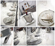 Diner table. Details of a wedding table set for fine dining Stock Photo