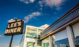 Diner van luwtes, langs Lincoln Highway dichtbij Thomasville, Pennsylvani stock fotografie
