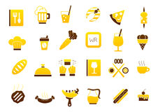 Diner yellow-brown vector icons set. Set of 24 Diner yellow-brown vector icons Stock Image