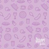 Dinerachtergrond Naadloos Patroon met Lijnpictogrammen van Voedsel zoals Pizza, Cake, Lapje vlees, Kip, Wijn, Chocolade, Oranje e royalty-vrije illustratie