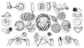 Dinerende mensen, vectorillustratie Handen met bestek bij de lijst Hoogste meningstekening Stock Foto's