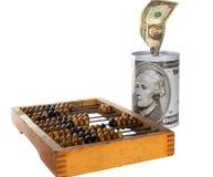 Dinero, ábaco, moneybox Foto de archivo libre de regalías