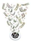Dinero abajo de la basura del dren Imágenes de archivo libres de regalías