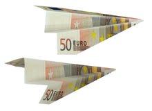 Dinero-aeroplano Imagen de archivo libre de regalías