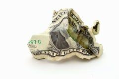 Dinero arrugado Foto de archivo libre de regalías