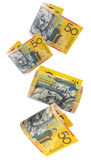 Dinero australiano, cayendo fotografía de archivo libre de regalías