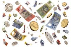 Dinero australiano que cae Imágenes de archivo libres de regalías