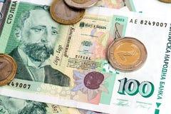 Dinero búlgaro BGN - billetes de banco y monedas Fotos de archivo